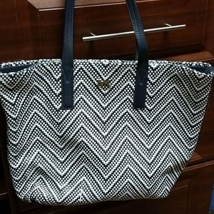 Michael Kors Navy Junie Chevron Leather Tote